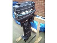 Mercury 25 hp long shaft outboard engine. Electric and manual start 2 stroke with wiring cables.