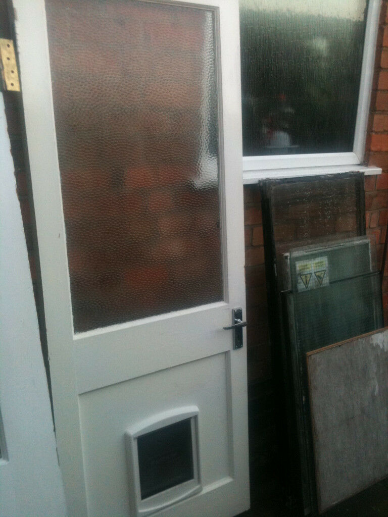Exterior Wooden Door With Large Glass Panel And Dog Flap In