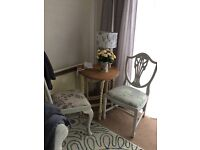 Shabby chic cream and wood gate leg table with 2 chairs in Laura Ashley fabric