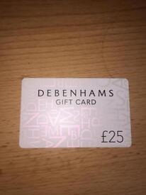 DEBENHAMS GIFT CARD £25