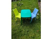 CHILDRENS plastic table and 2 plastic chairs green, lime and blue ASDA GEORGE