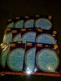 Blue christening balloons