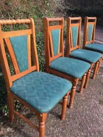Set of 4 chunky solid pine upholstered dining chairs