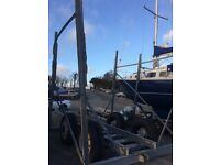 Yard trailer for yacht, galvanised, double axle