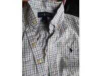 Boys Blue check ralph lauren shirt size 8 custom fit