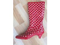 Red Polka Dot Vintage Ladies Wellies size 5 - as new