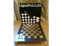 Manopoulos Mini Chess Set - Greek - Brass, Nickle - Fine set Excellent Condition