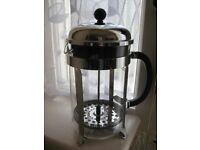 Bodum French Press Cafetier with 5 Tea Glasses in Chrome Holders