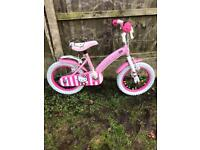 """HELLO KITTY GIRLS BIKE, 14"""" WHEELS, GOOD USED CONDITION, new stabilisers available £5"""
