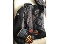 Men's large motorcycle jacket, gloves and helmet