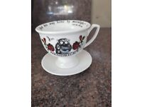 Hendricks Gin Cup and Saucer with Oscar Wilde quote Bushbaby, NEW Ideal gift