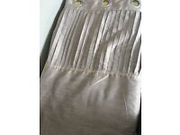 Faux-silk mocha/dusted pink eyelet curtains with pleated header