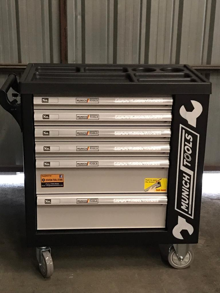6 Drawer Tool Box with 245pcs Tools + Side Cabinet with 1 Shelves + Lockable Door. Van/car/tractor.