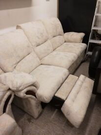 Reclining sofa and 2 chairs good and strong would do someone starting out was recently cleaned.