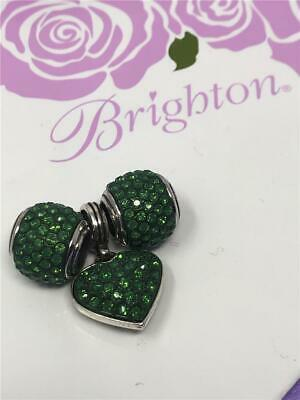 3  brighton lot   1 Cupid's Kiss heart charm  2 crystal beads      green