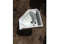 Period porcelain corner sink with Back splash up-stand