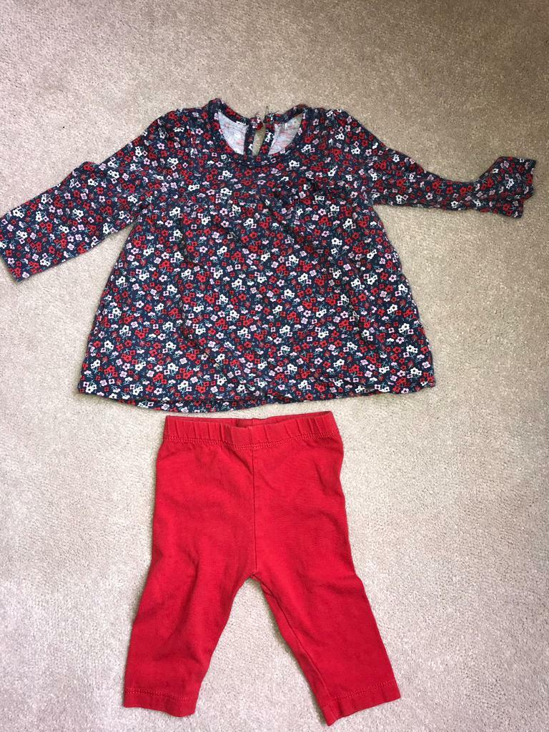 0-3 months x 2 set long sleeved top and legging set