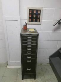 OLIVE GREEN 1950S FILING CABINET SMALL