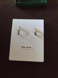 Silver pattern hoop earrings
