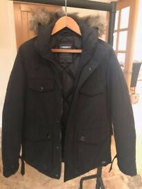 ProdUK Parka with fur hood, as new, in black with black padded lining, bought from ASOS, hardly worn