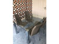 Glass dining table and chairs