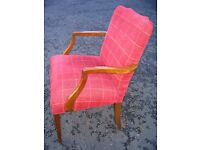 Vintage armchair. Solid wood plus new fabric. c.1930