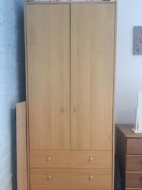 Oak Wooden Wardrobe with Draws