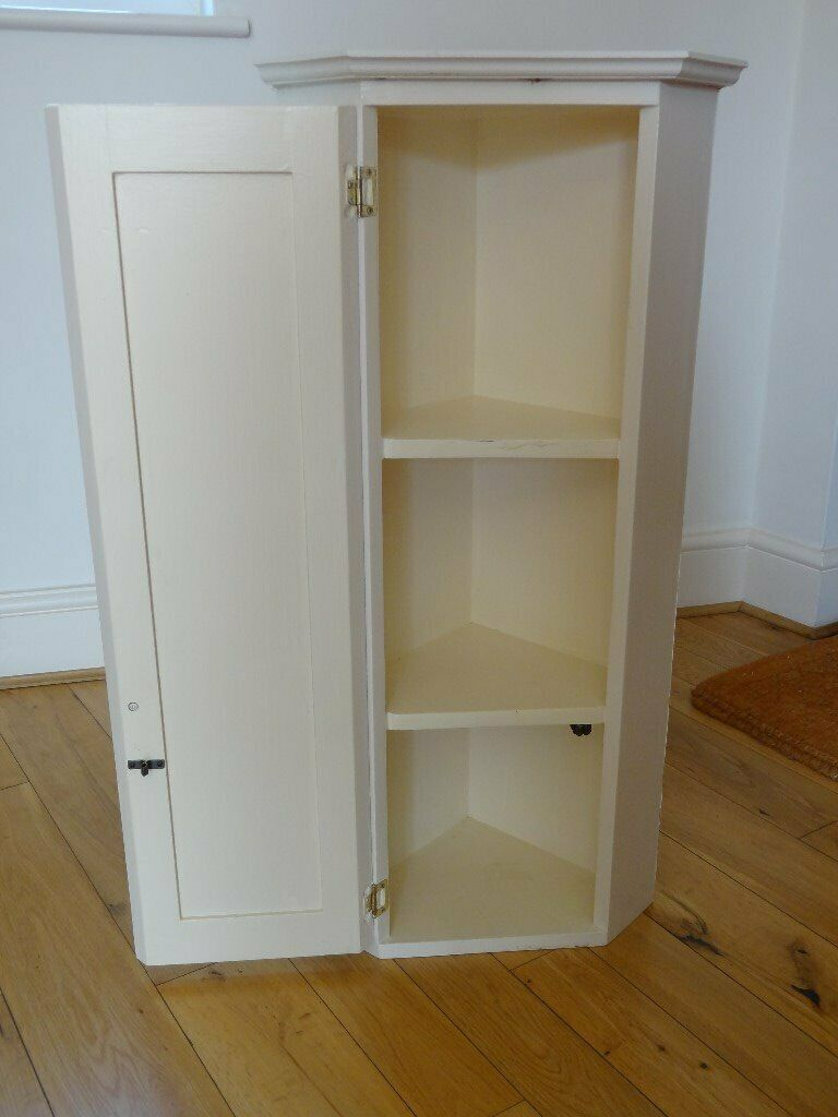 white solid wood bathroom corner cabinet  in swindon