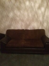 Brown leather and cord sofa