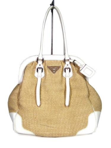 Authentic Prada tote Bag Straw Shoulder Bag Woman