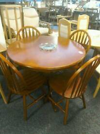 Round pedestal table and 4 chairs #33434 £50