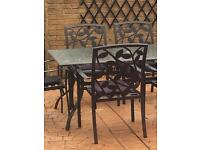 6 SEATER OUTDOOR DINING TABLE CHAIRS BLACK METAL AND GLASS