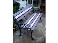 """Attractive Purple & Pink refurbished Vintage Garden Bench 44"""" cast iron & wood"""
