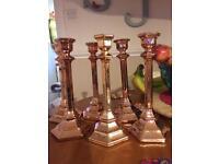 6 copper/rose gold coloured glass candlesticks - wedding centrepieces