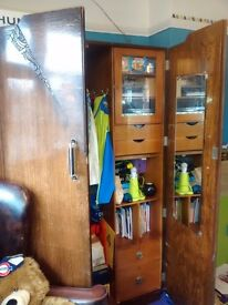Vintage 1940's gentleman's wardrobe with rail, shelves, lockable cupboard and key