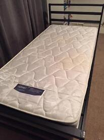 Silent night mattress and single bed frame