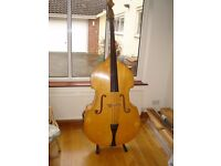 Double bass 3/4 size with bow and stand.