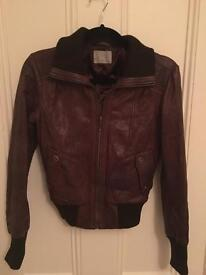 Brown Leather Jacket, Size 8