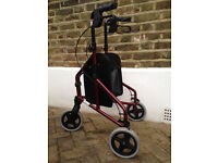 TW008R Ultralight aluminium red Tri-Walker with vinyl bag