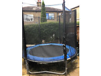 Trampoline with zipped enclosure