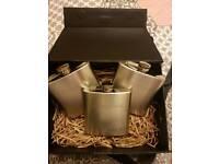 5 x Courvoisier hip flasks
