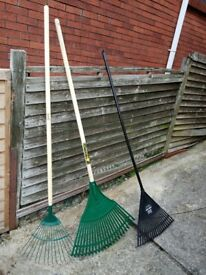 NEW UNUSED Garden Lawn Rakes x 3 Wilkinson Sword Harris Bulldog 60 & Harris Victory Leaves Grass