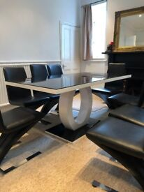 Giovani Large Glass And High Gloss Modern Dining Table & 8 Faux Leather Z chairs