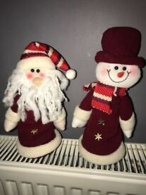 Snowman and Santa for sale!