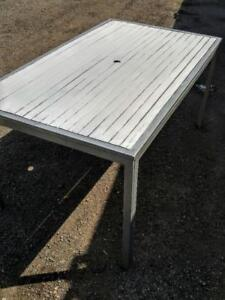 Oakville OUTDOOR TABLE WOOD & METAL Patio White & Brown Outside Summer BBQ Yard Garden