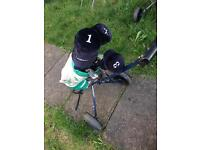 Golf clubs + bag + trolley