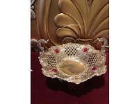 Turkish ornate silver cut work fruit basket bowl