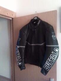 Mens buffalo leather motorbike jacket
