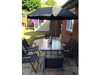 Outdoor Garden Set With 6 Chairs, Glass Table And Parasol