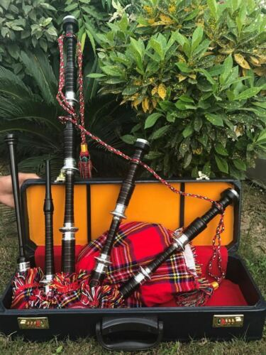 Scottish Great Highland Bagpipe African Wood Hand Engraved Black Finish Set
